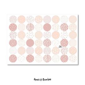 Cadeau stickervel A4 -  Roze motiefjes - Annie with the Bamboo