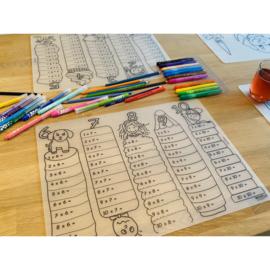 Herkleurbare Placemat - Tafels leren - PAKKETPOST!