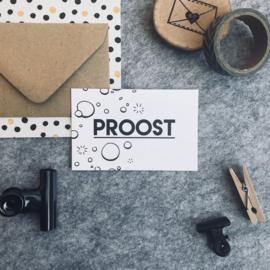 Mini kaartjes met kraft envelop- Proost - 2 stuks - Studio Thoés