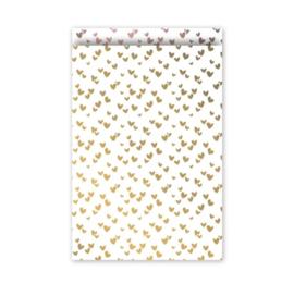 Cadeau zakjes Solo Hearts Goud/Rose - 17x25cm - 4 stuks