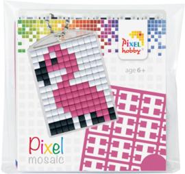 Pixel sleutelhanger set compleet - Flamingo