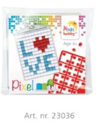 Pixel sleutelhanger set compleet - Love blauw/Rood