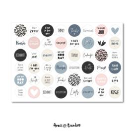 Cadeau stickervel A4 - Tekst Blauw/Licht roze / ivoor - Anne with the Bamboo