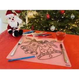 Herkleurbare Placemat - Kerstbellen en -klokjes - PAKKETPOST!