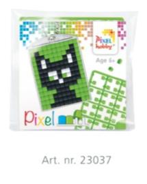 Pixel sleutelhanger set compleet - Zwarte kat
