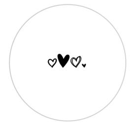 Roundie 20cm voor binnen - Wit met 3 hartjes