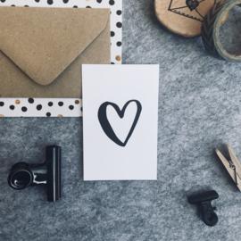 Mini kaartjes met kraft envelop- Hartje - 2 stuks - Studio Thoés