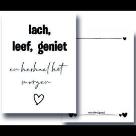 Wenskaart A6 - 350gram - Lach, Leef, Geniet - Esva Design