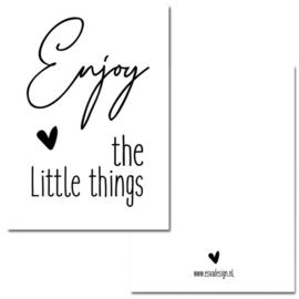 Mini kaart A7 - 350gram - Enjoy the little things Wit- Esva Design