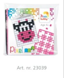 Pixel sleutelhanger set compleet - Koe roze