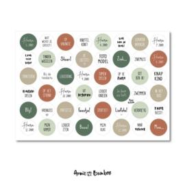 Cadeau stickervel A4 -  Tekst Terra/groen - Annie with the Bamboo