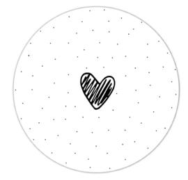 Roundie 20cm voor binnen - Wit met dots en hartje streep