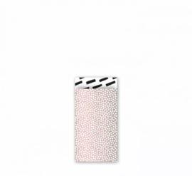Cadeau zakjes Cozy Cubes Roze metallic/Wit/Zwart - 7x13cm - 7 stuks