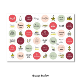 Cadeau stickervel A4 - Tekst Kerst - Anne with the Bamboo