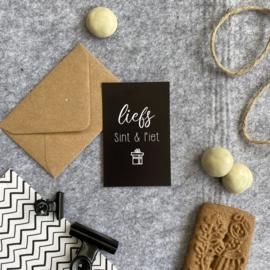 Mini kaartjes met kraft envelop- liefs Sint en Piet - 2 stuks - Studio Thoés