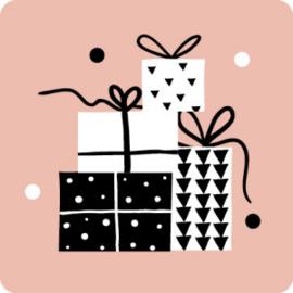 Cadeautjes zwart/wit/rose - 10 stuks - Kado etiket