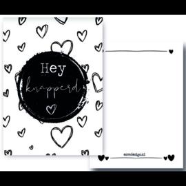Mini kaart A7 - 350gram - Hey knapperd - Esva Design