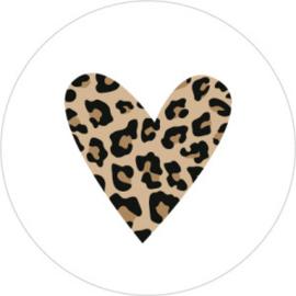 Leopard heart  35mm wit - 10 stuks - Kado etiket