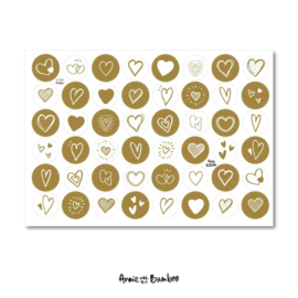 Cadeau stickervel A4 -  Hartjes Okergeel/wit - Annie with the Bamboo