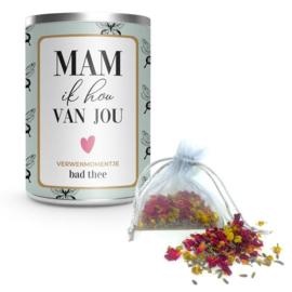 Blik Bad thee Mam ik hou van Jou - Mini Art - Pakketpost!