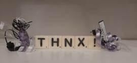 Mini kaarsjes tekst THNX!