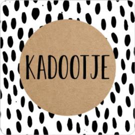 Kadootje vierkant zwart/wit/kraft - 10 stuks - Kado etiket