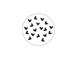 Wit met hartjes 45mm zwart/wit - 10 stuks - Kado etiket