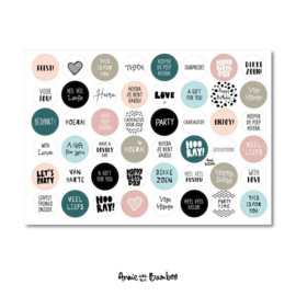 Cadeau stickervel A4 - Tekst Zalm/turquois - Annie with the Bamboo