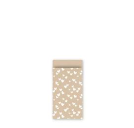 Cadeau zakjes Solo Hearts Kraft/Wit - 7x13cm -  7 stuks
