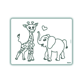 Herkleurbare Placemat - Giraf en Olifant - PAKKETPOST!