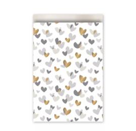 Cadeau zakjes Duo Hearts Champagne/Goud/Grijs - 17x25cm - 4 stuks