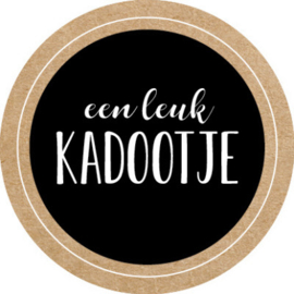 Een leuk Kadootje  35mm zwart/kraft - 10 stuks - Kado etiket