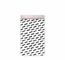 Cadeau zakjes Open Spaces Zwart/Wit/ Roze metallic - 12x19cm - 5 stuks