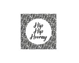 Hip Hip Hooray 35mm zwart/wit - 10 stuks - Kado etiket