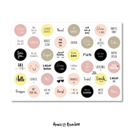 Cadeau stickervel A4 - Tekst Geel/Licht roze / ivoor - Anne with the Bamboo