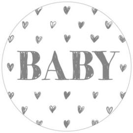 Baby 35mm Wit/Zilver - 10 stuks - Kado etiket