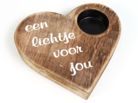 7222 Hart waxinelichthouder naturel - Woodart
