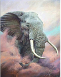 1831BR. Diamont Painting 30x40cm - ronde steentjes - Olifant