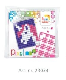 23034 Pixel sleutelhanger set compleet - Eenhoorn roze