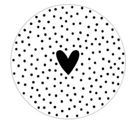 Roundie 20cm voor binnen - Wit met dots en hartje