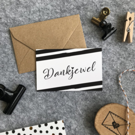 Mini kaartjes met kraft envelop- Dankjewel- 2 stuks - Studio Thoés