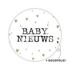 Baby Nieuws 44mm zwart/wit/goud - 10 stuks - Kado etiket
