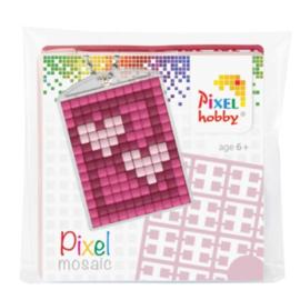 Pixel sleutelhanger set compleet - 2 hartjes