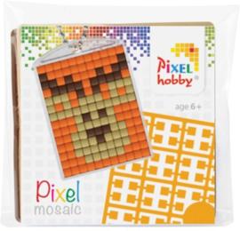 23003 Pixel sleutelhanger set compleet - Rendier Oranje achtergrond
