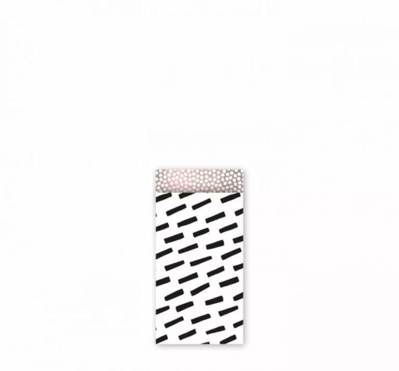 Cadeau zakjes Open Spaces Zwart/Wit/ Roze metallic  - 7x13cm - 7 stuks