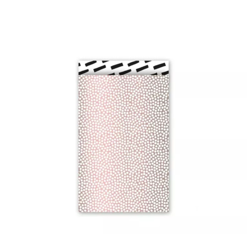 Cadeau zakjes Cozy Cubes Roze metallic/Wit/Zwart - 12x19cm - 5 stuks