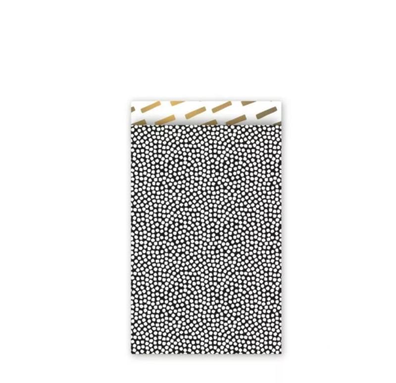 Cadeau zakjes Cozy Cubes Zwart/Wit/Goud - 12x19cm - 5 stuks