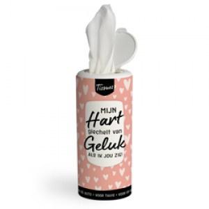Tissues koker -mijn hart giechelt van geluk als ik jou zie - PAKKETPOST!!