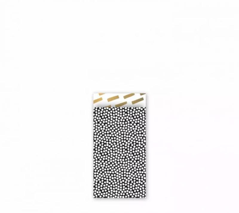 Cadeau zakjes Cozy Cubes Zwart/Wit/Goud - 7x13cm - 7 stuks