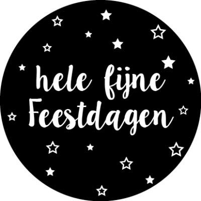 Hele fijne Feestdagen Zwart/wit - 10 stuks - Kado etiket